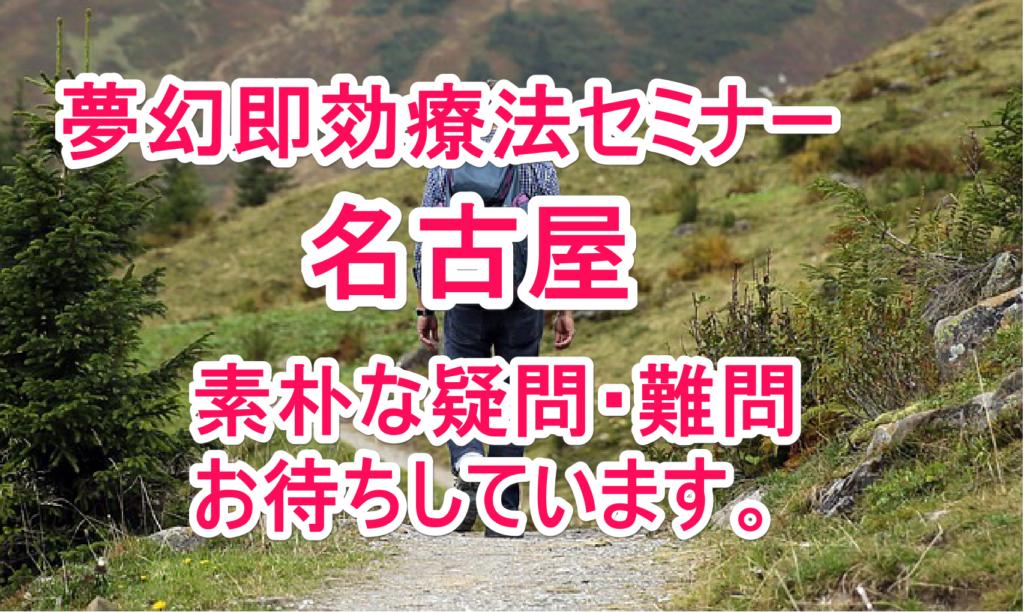 年に1度の夢幻先生が福岡から名古屋に即効療法セミナーがやってくる!